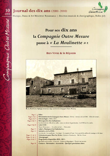 Journal bilan dix ans Compagnie Outre Mesure