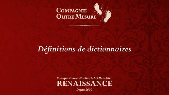 musique et danse renaissance définitions de dictionnaire