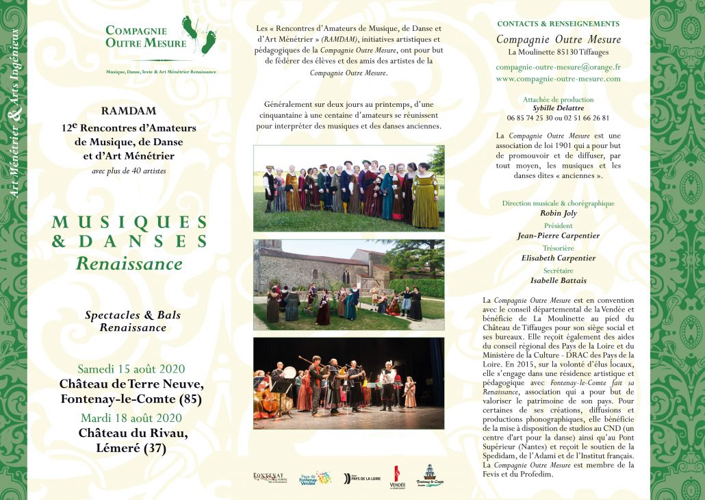Programme des 12ème RAMDAM (Rencontres d'Amateurs de Musique, de Danse et d'Arts Ménétriers) ext